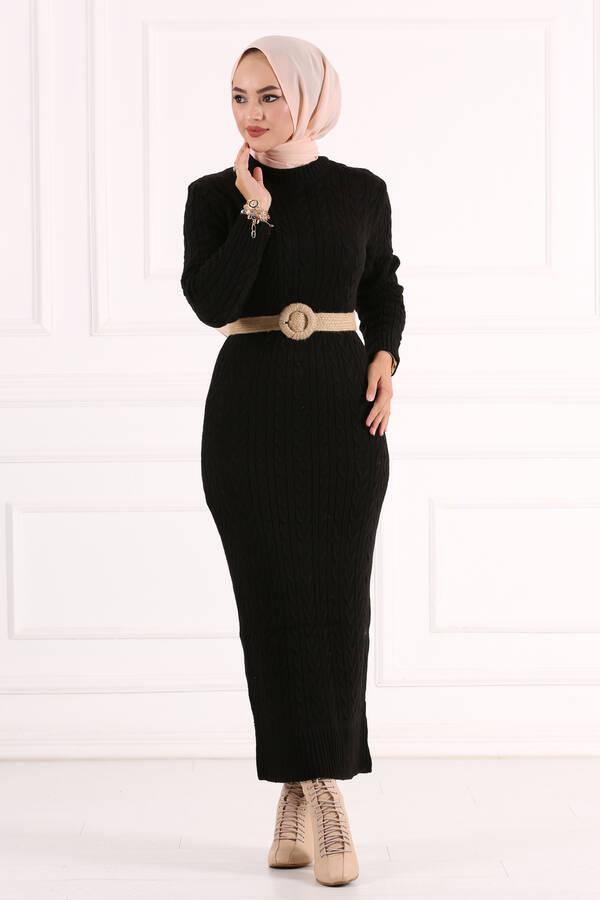 Örgü Triko Elbise Siyah
