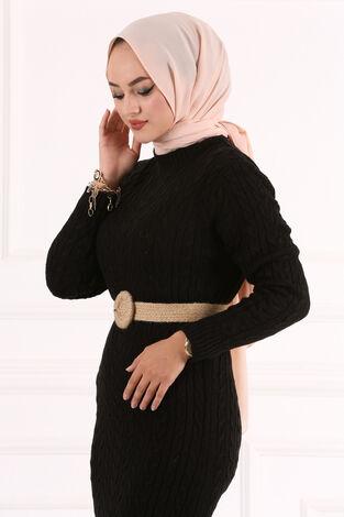 Örgü Triko Elbise Siyah - Thumbnail