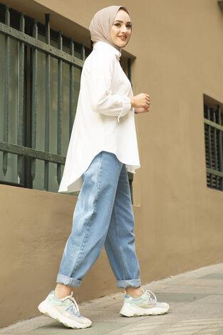 Oversize Basic Tesettür Gömlek Beyaz - Thumbnail