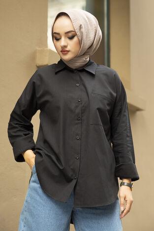 Oversize Basic Tesettür Gömlek Siyah - Thumbnail