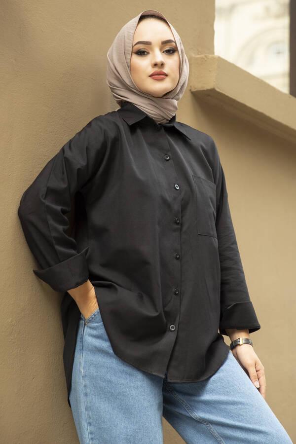 Oversize Basic Tesettür Gömlek Siyah