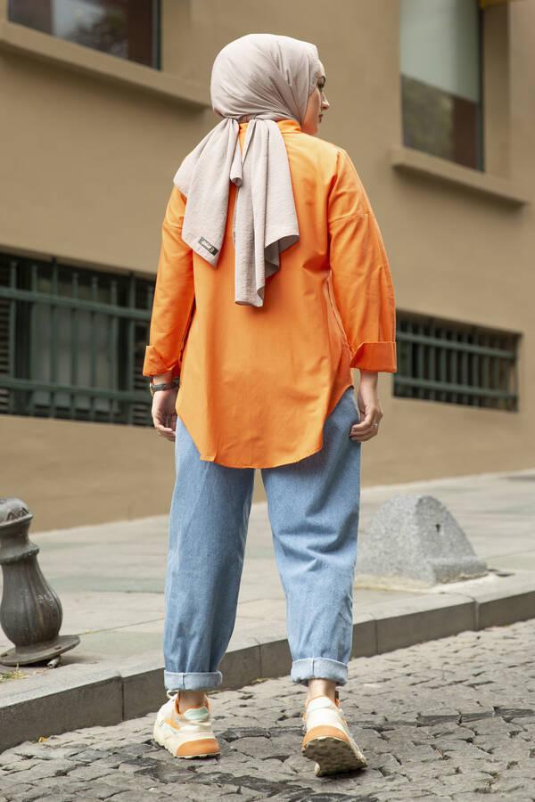 Oversize Basic Tesettür Gömlek Turuncu