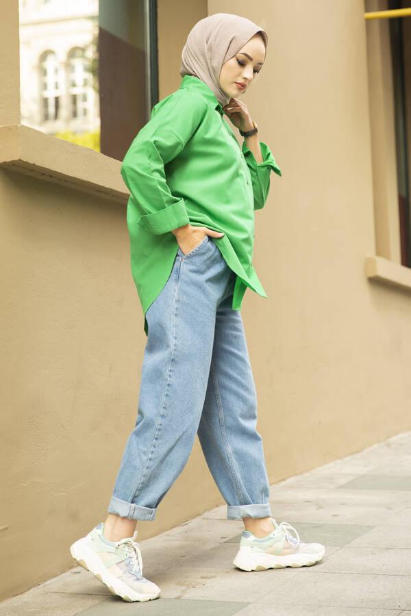 Oversize Basic Tesettür Gömlek Yeşil