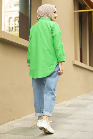 Oversize Basic Tesettür Gömlek Yeşil - Thumbnail