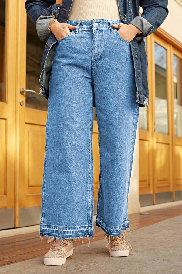 Paçası Sökük Clot Pantolon 190E1089 Açık Mavi