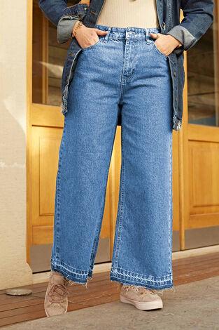 Paçası Sökük Clot Pantolon 190E1089 Açık Mavi - Thumbnail