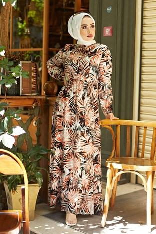 - Palmiye Desenli Elbise 2357-1