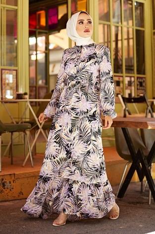- Palmiye Desenli Elbise 2357-2