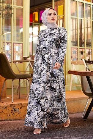 - Palmiye Desenli Elbise 2357-3