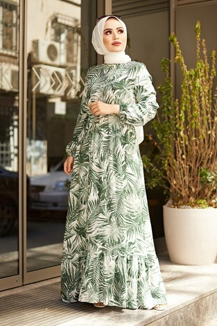 - Palmiye Desenli Elbise 2357-4