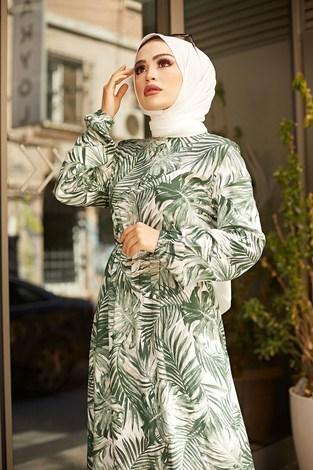 - Palmiye Desenli Elbise 2357-4 (1)