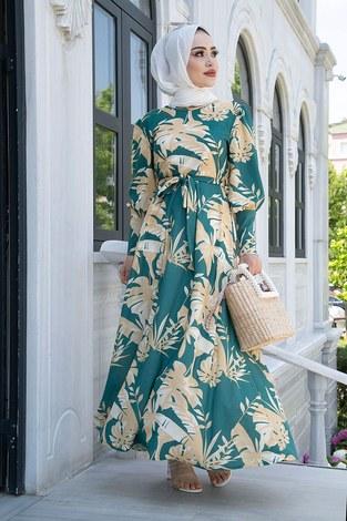 - Palmiye Desenli Mevlana Elbise 6732-1