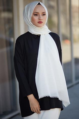- Pamuklu El Boyaması Şal 8106-10 Beyaz