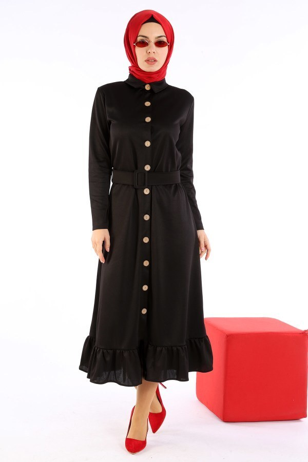 Fırfır Tahta Düğmeli Elbise Kap 1600-01