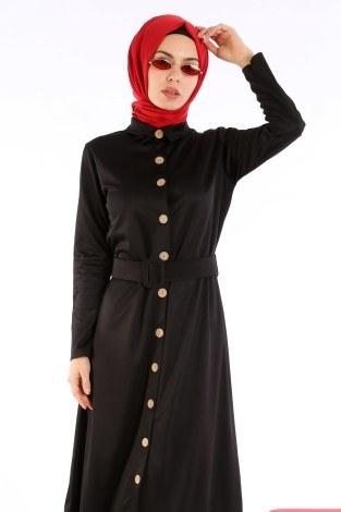 - Fırfır Tahta Düğmeli Elbise Kap 1600-01 (1)