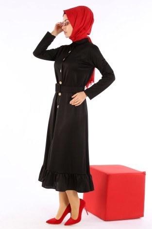 Fırfır Tahta Düğmeli Elbise Kap 1600-01 - Thumbnail