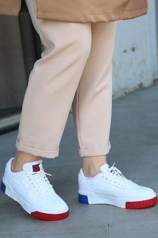 - Parça Renkli Beyaz Spor Ayakkabı 6149-4