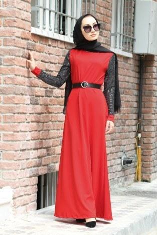 - Payet Detaylı Elbise 4118-05