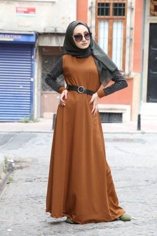 - Payet Detaylı Elbise 4118-15