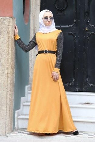 - Payet Detaylı Elbise 4118-10