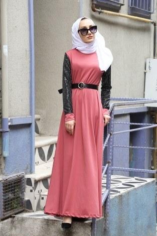- Payet Detaylı Elbise 4118-09
