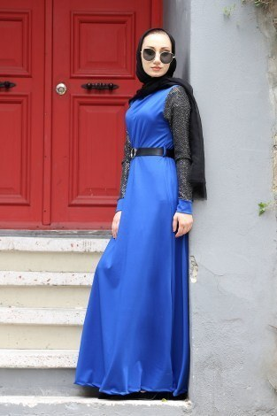- Payet Detaylı Elbise 4118-08