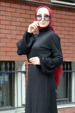 - Piliseli Balon Kol Triko Elbise 1099-01 siyah (1)