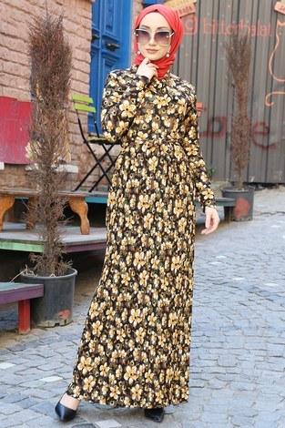 - Piliseli Desenli Elbise 6650-01
