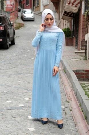 - Piliseli İnci Detaylı Elbise 151530-19