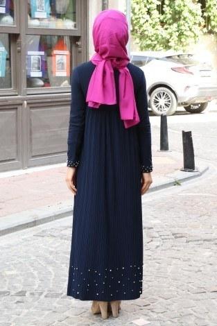 Piliseli İnci Detaylı Elbise 151530-2 - Thumbnail