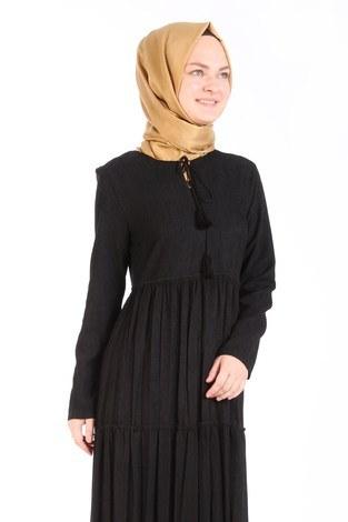 - Piliseli Kadife Elbise 6487-01 siyah (1)