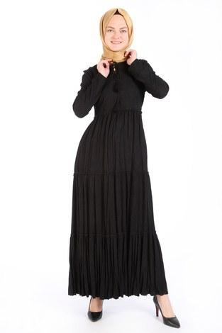 - Piliseli Kadife Elbise 6487-01 siyah