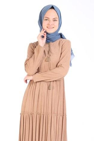 - Piliseli Kadife Elbise 6487-11 bej (1)
