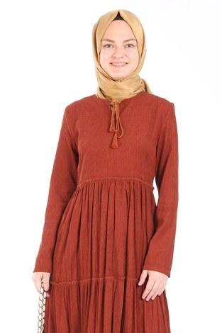 - Piliseli Kadife Elbise 6487-16 kiremit (1)
