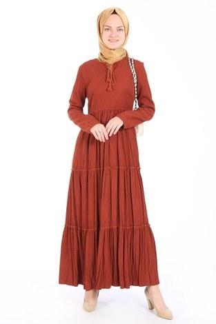 - Piliseli Kadife Elbise 6487-16 kiremit