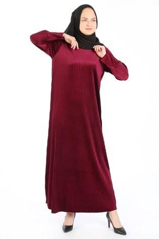 Piliseli Kadife Elbise 88199-2 bordo - Thumbnail