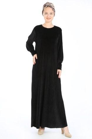 - Piliseli Kadife Elbise 88199-4 siyah