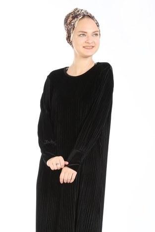 - Piliseli Kadife Elbise 88199-4 siyah (1)