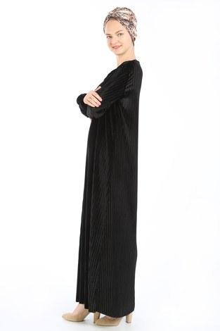 Piliseli Kadife Elbise 88199-4 siyah - Thumbnail