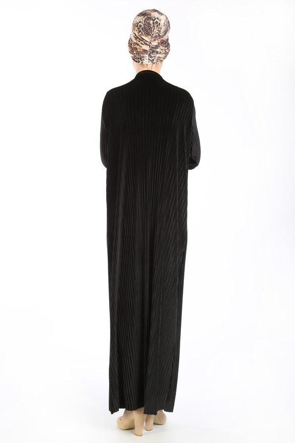Piliseli Kadife Elbise 88199-4 siyah