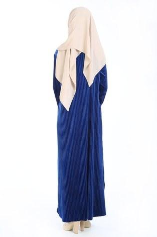 Piliseli Kadife Elbise 88199-7 saks - Thumbnail