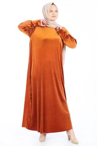 - Piliseli Kadife Elbise 88199-8 turuncu