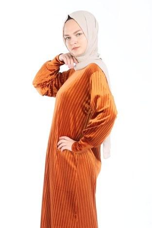 - Piliseli Kadife Elbise 88199-8 turuncu (1)