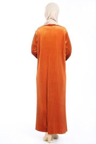 Piliseli Kadife Elbise 88199-8 turuncu - Thumbnail