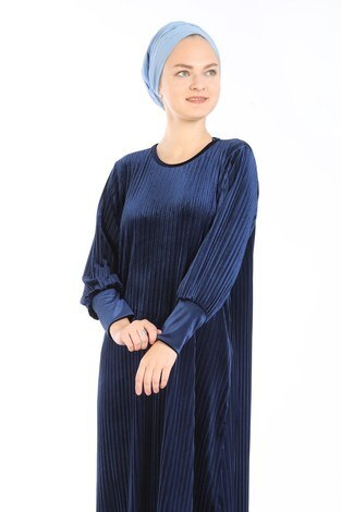 Piliseli Kadife Elbise 88199-5 lacivert - Thumbnail
