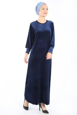 - Piliseli Kadife Elbise 88199-5 lacivert