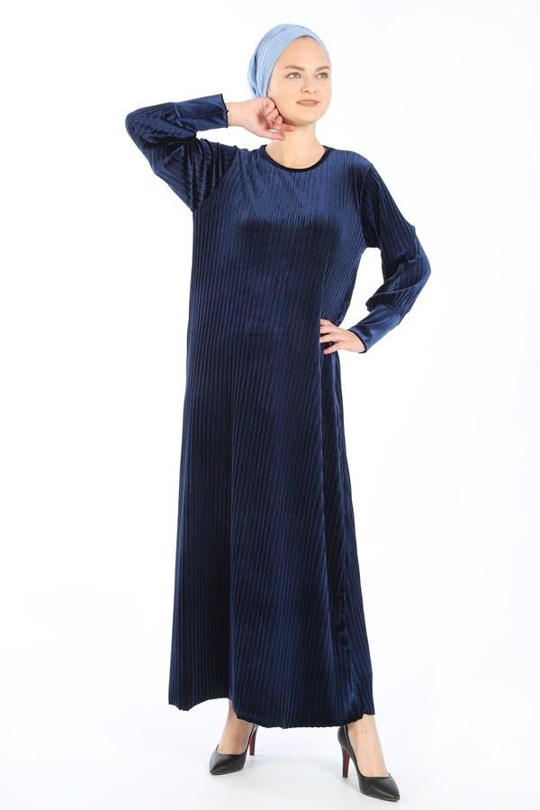 Piliseli Kadife Elbise 88199-5 lacivert