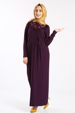 - Piliseli Nakışlı Elbise 1546-04