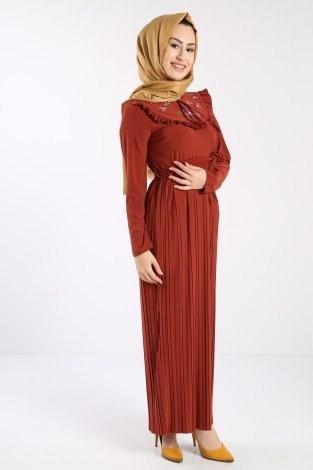 - Piliseli Nakışlı Elbise 1546-05