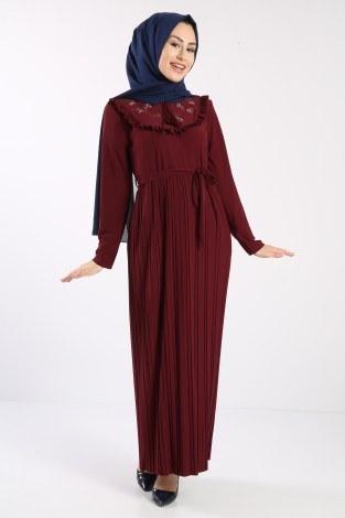 - Piliseli Nakışlı Elbise 1546-06